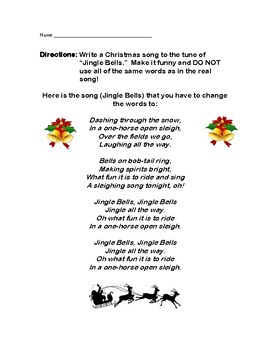 Jingle Bells Holiday Song Writing Poetry Christmas Activity Grades 3-5