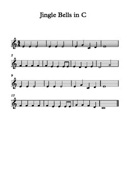 Jingle Bells in C and G with named note heads