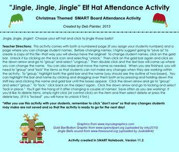 """""""Jingle, Jingle, Jingle"""" Elf Hat SMART Board Attendance Activity w/ SOUND"""