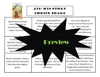 Jip His Story Choice Board Tic Tac Toe Novel Activities Menu Assessment Project