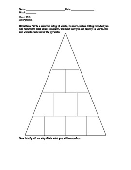 Jist Pyramid- Story or Unit Review Activity