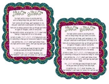 Jitter Glitter: First Day of School Poem FREEBIE