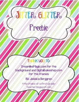Jitter Glitter Freebie by Tales of a First Grade Teacher ...