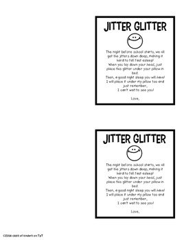 Jitter Glitter {Freebie} The Night Before Back to School Kindergarten & First