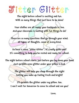 photograph about Jitter Glitter Poem Printable known as Jitter Glitter Poem Worksheets Instruction Elements TpT