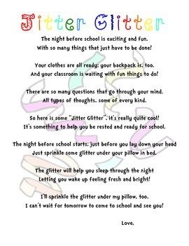 Jitter Glitter! Perfect for Meet the Teacher Night!