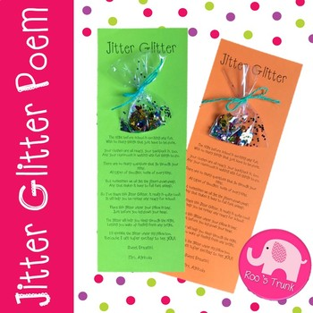 It's just an image of Jitter Glitter Poem Printable intended for starting school