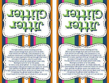 image relating to Jitter Glitter Poem Printable called Jitter Glitter Worksheets Coaching Elements TpT