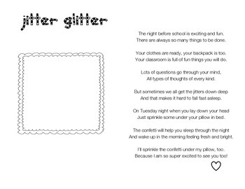 Jitter Glitter for the Night Before First Grade