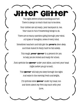 picture about Jitter Glitter Poem Printable named Jitter Glitter Poem Worksheets Education Components TpT
