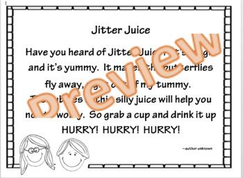 Jitter Juice Poem & Worksheet