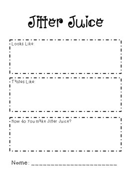 Jitter Juice Writing Activity