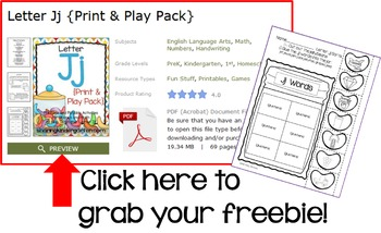 Letter Jj {Print & Play Pack}