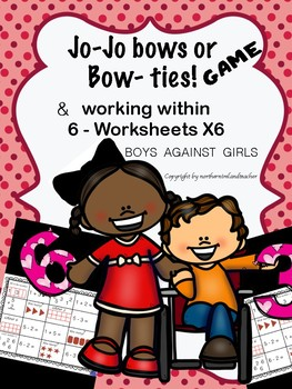 Jo-Jo bows or BowTies - dice game and worksheets -numbers 1-6.