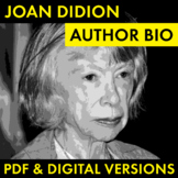 Joan Didion Author Study Worksheet, Easy Biography Activity, CCSS