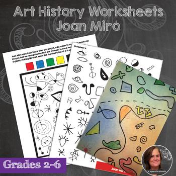 Joan Miró Art Lesson and Worksheets  - No Prep Art History