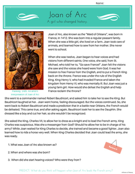 Joan of Arc: A girl who changed history. {no prep}