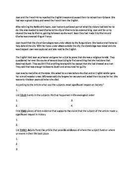 Joan of Arc Biography Article and Assignment Worksheet