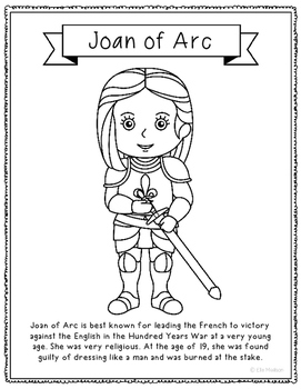 Joan of Arc Coloring Page Activity or Poster with Mini Bio