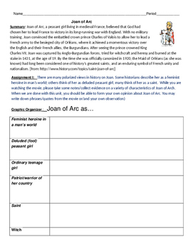 Joan of Arc -Movie Guide and Graphic Organizer