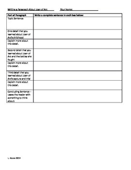 Joan of Arc Paragraph and Interview Activity