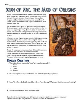 Joan of Arc Reading, Worksheet, and Obituary Assignment