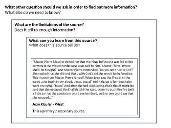 Joan of Arc Source Analysis Activity - execution