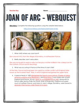 Joan of Arc - Webquest with Key