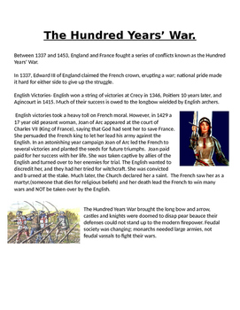 Joan of Arc and the Hundred Years War reading and guiding questions