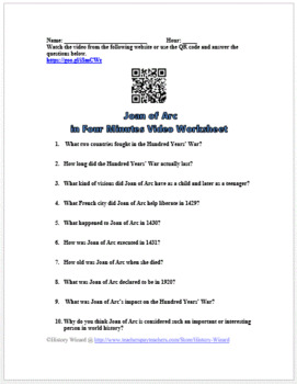 Joan of Arc in Four Minutes Video Worksheet