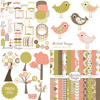 Joanie Digital Paper and Bird Clip Art Kit Commercial Use