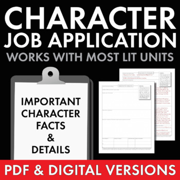 Job Application Characterization, Fun Stuff, Use with ANY Lit., Grades 6-12