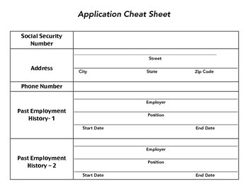 job application cheat sheet by carmichaelfa321 tpt