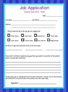 Job Application - Classroom Helpers 3rd 4th 5th 6th