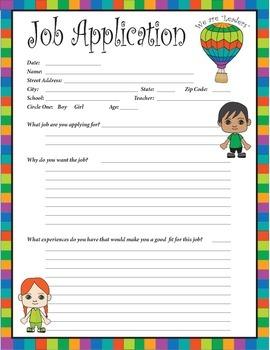 Job Application - Classroom Jobs