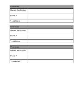 Job Application Info Sheet