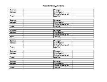 Job Application Record