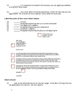 Job Application, Resume, and Cover Letter Test