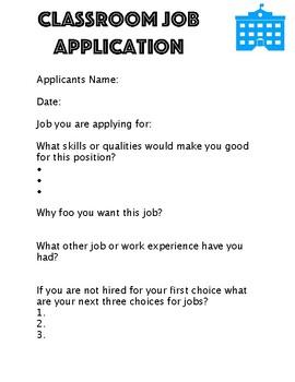 Job Application for Classroom Jobs