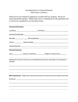 Job Application for Fictional Character (Human/Non-human)