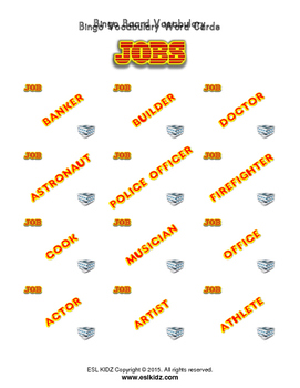 Job Bingo Matching Activity with flashcards
