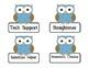 Job Cards - Owl Theme