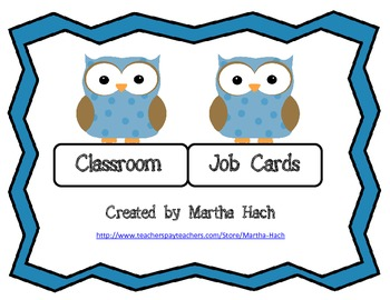 Job Cards - Owl Theme
