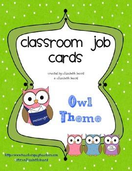 Job Cards: Owl Theme