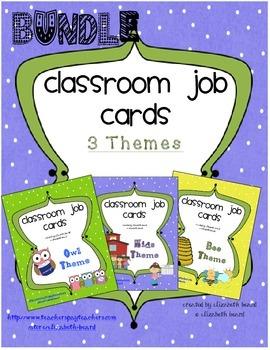 Job Cards for Classroom Job Chart BUNDLE:  64 Kids, Owl, a