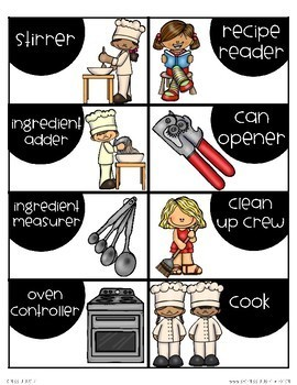 Job Cards for Cooking Lessons