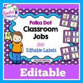 Editable Job Chart | Class Jobs Editable | Job Chart | Purple Polka Dot