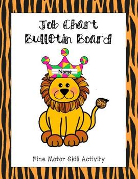 Job Chart - Bulletin Board / Fine Motor Skills Activity (Jungle Theme)