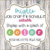 Job Chart & Class Schedule with Bright Bunting and Shiplap