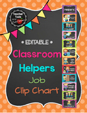"Job Chart ""Classroom Helpers""  - Cute Polka Dots and Chalkboard - Editable!"
